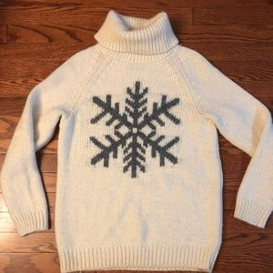 GAP Alpace/Wool Cream Turtleneck Sweater SNOWFLAKE